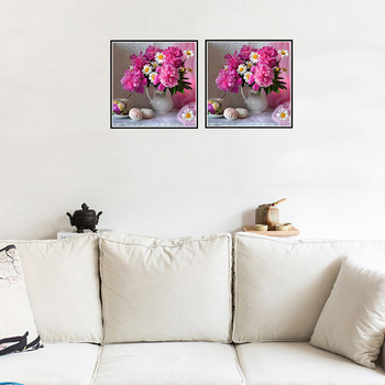 DIY 5D Diamond Painting Cross Stitch Flower Round Diamond Mosaic Picture Flower Vase Home Decor Diamond Embroidered Floral