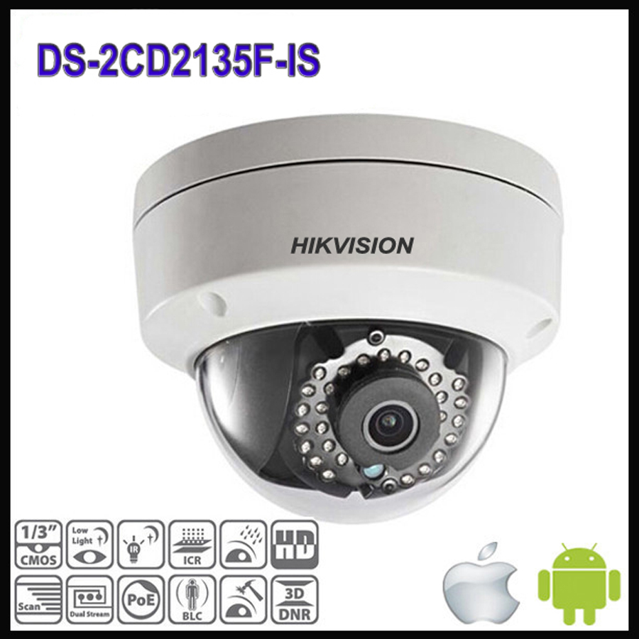 Hikvision Dome CCTV Ağ Kamera DS-2CD2135F-IS Çoklu dil H.264 IP ağ dome poe kameralar ses 3MP CCTV Kamera
