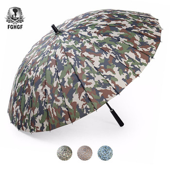 FGHGF 24k Rib Firm Camouflage Windproof Long Straight Handle Sun Rain Stick Large Outdoor Golf Umbrella Manual Parasol