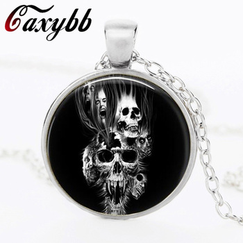 Fashion skull Pendant Necklace Art Photo Vintage Glass Cabochon Choker Statement Necklace For Women FTC-N194